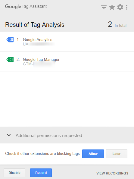 Tag Assistantを有効化したタブでページを閲覧した際のキャプチャ