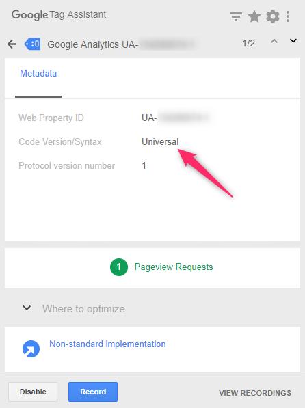 Tag AssistantでGAタグのバージョンを確認する「Metadata」タブを開いた際のキャプチャ
